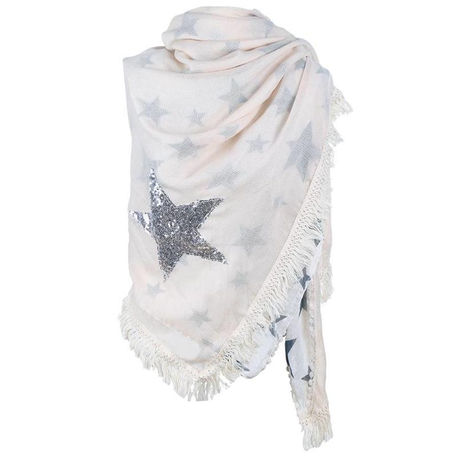 Prachtige Sjaal Stars - Off White-1