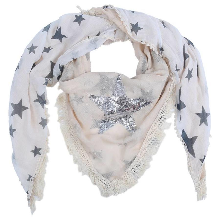 Prachtige Sjaal Stars - Off White-2