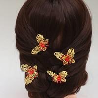thumb-Hairpin - Goudkleurige Vlinder met Rode Parel-1