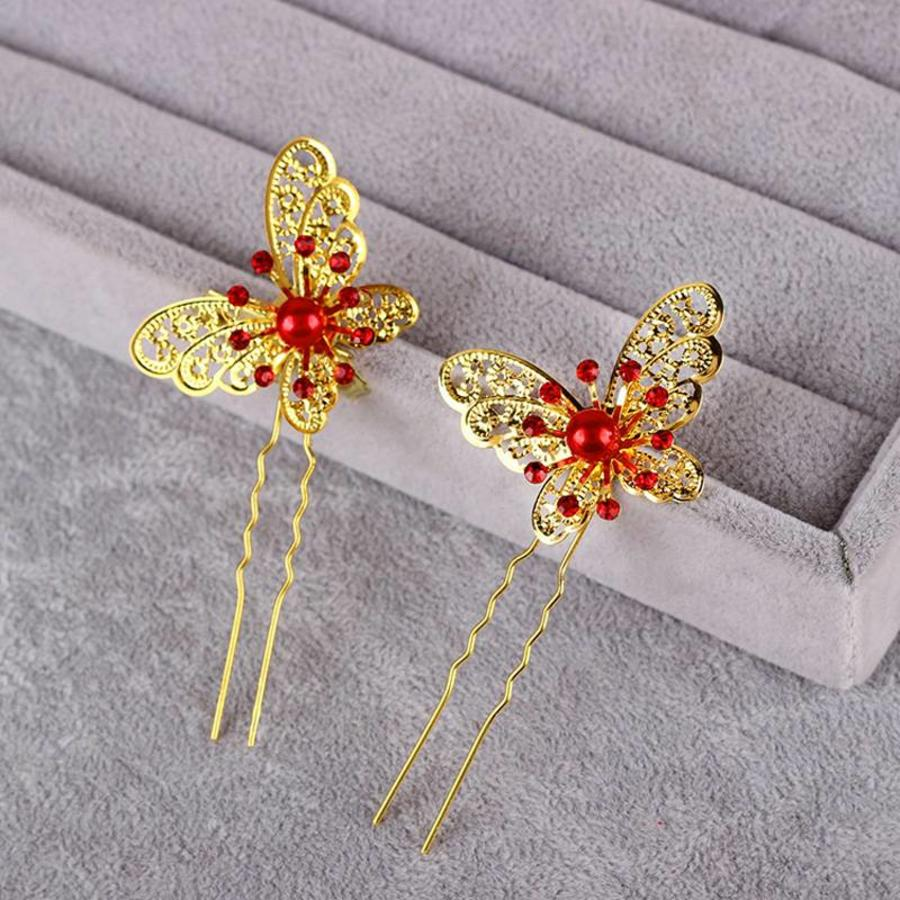 Hairpin - Goudkleurige Vlinder met Rode Parel-3