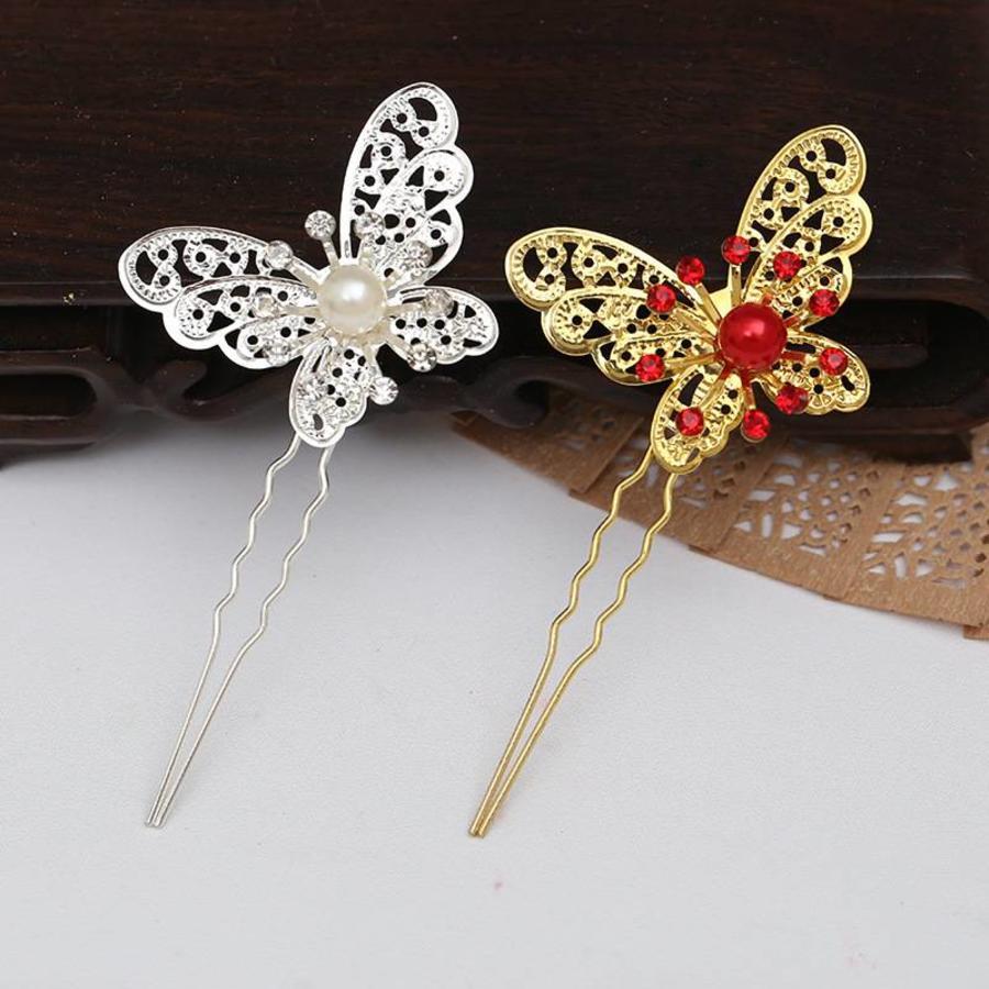 Hairpin - Goudkleurige Vlinder met Rode Parel-4