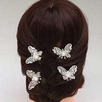 thumb-PaCaZa - Hairpin - Zilverkleurige Vlinder met Ivoorkleurige Parel-6