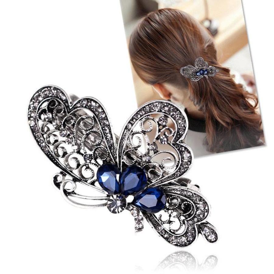 Chique Vlinder Haarclip - Blauw-3