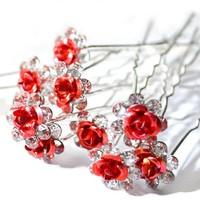 thumb-Hairpins – Rood Roosje - 5 stuks-1