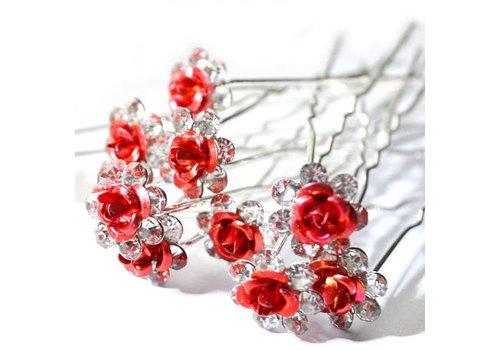 Hairpins – Rood Roosje - 5 stuks