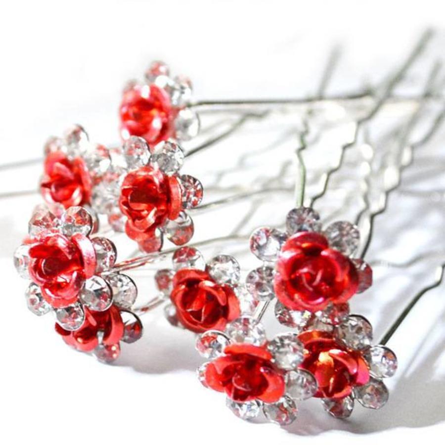 Hairpins – Rood Roosje - 5 stuks-1