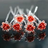 thumb-Hairpins – Rood Roosje - 5 stuks-2