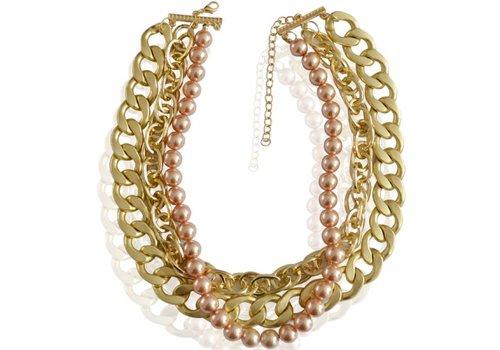 SALE - Ketting met Chain-Motief en Rosé Kleurige Parels