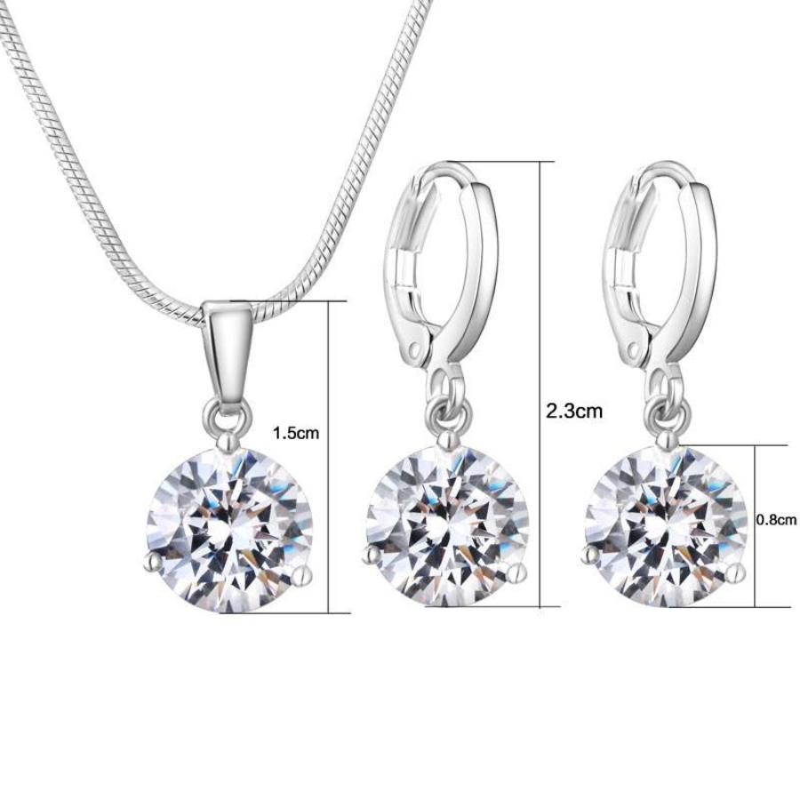 PaCaZa - Sieradenset Diamond (Ketting & Oorbellen)-3