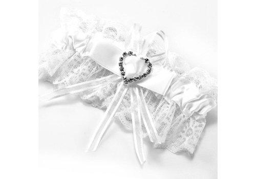 Kousenband Wit met Fonkelend Hart