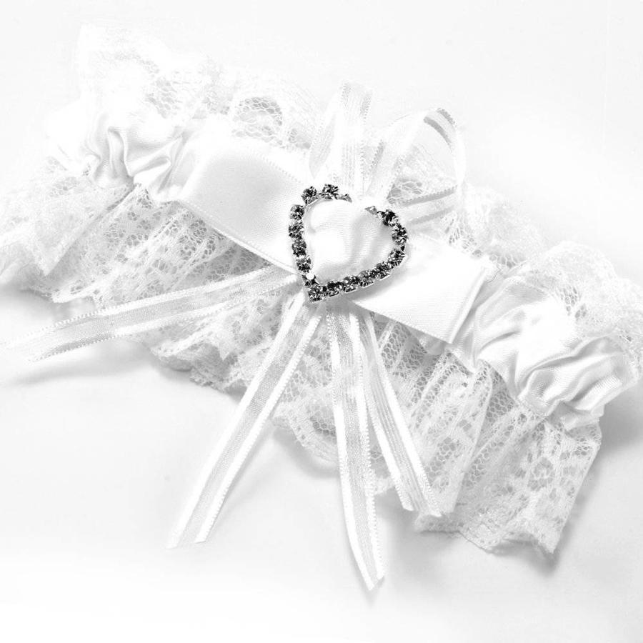 Kousenband Wit met Fonkelend Hart-1
