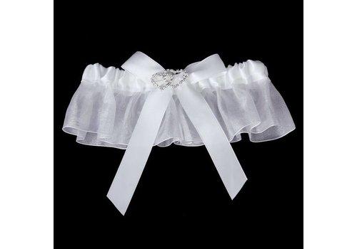 Kousenband Wit met Fonkelende Hartjes