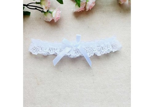 Kousenband Wit met Witte Strik