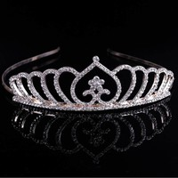 thumb-Chique Goudkleurige Tiara / Kroon Heart-5