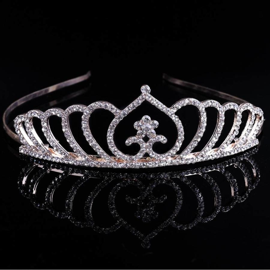 Chique Goudkleurige Tiara / Kroon Heart-5