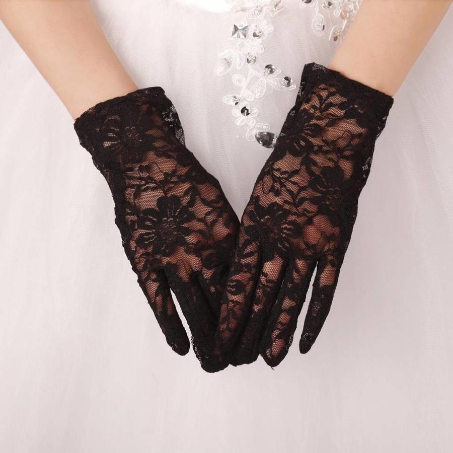 Stijlvolle Bruidshandschoenen - Zwart-3