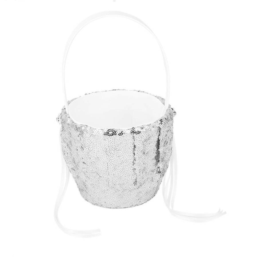 SALE - Bloemenmandje met Pailletten - Zilver-3