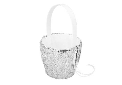 SALE - Bloemenmandje met Pailletten - Zilver
