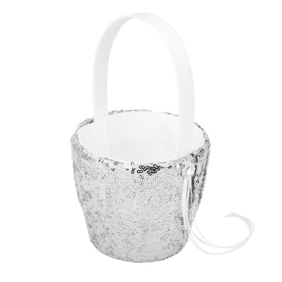 Bloemenmandje met Pailletten - Zilver-1