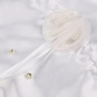 thumb-SALE - Bruidstasje met Roosjes, Pareltjes en Kristallen - Wit-3