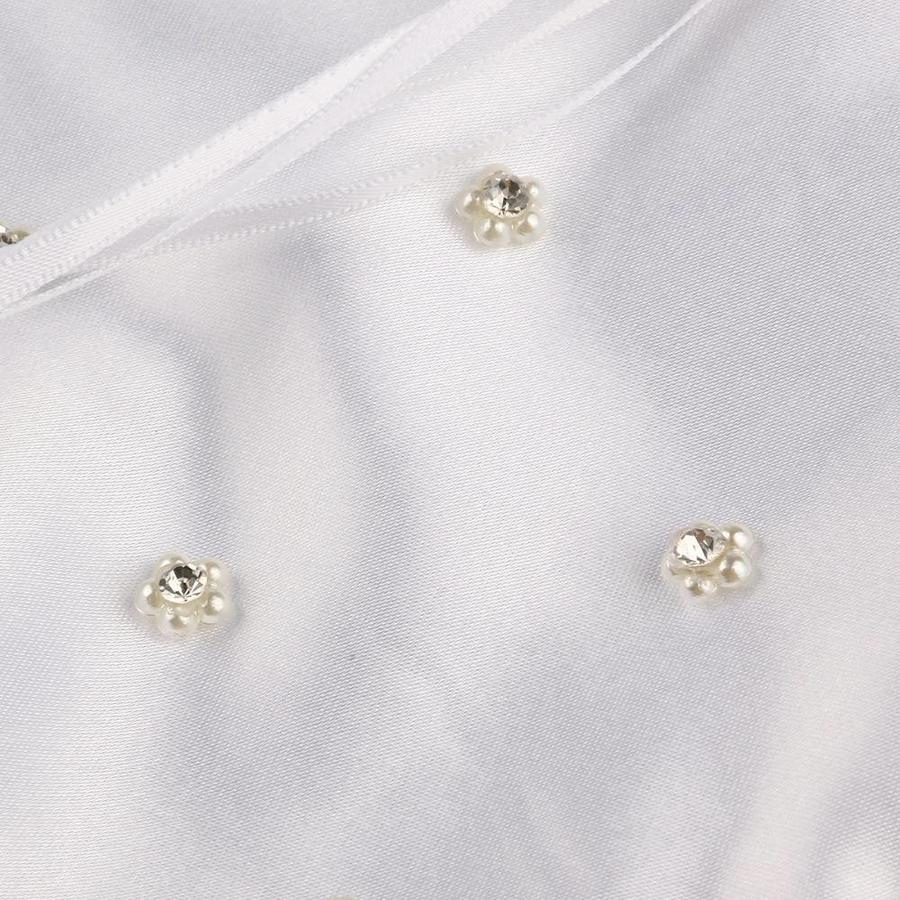 SALE - Bruidstasje met Roosjes, Pareltjes en Kristallen - Wit-4