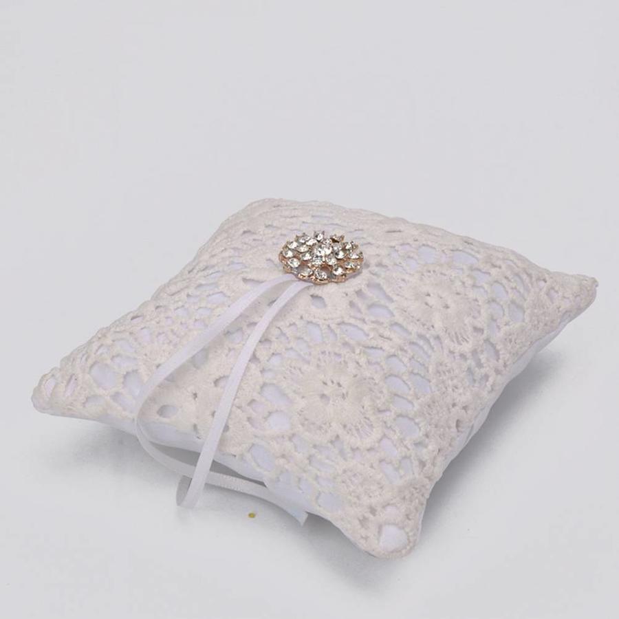 Ringkussen met Fonkelende Diamant - Ivoor & Wit-3