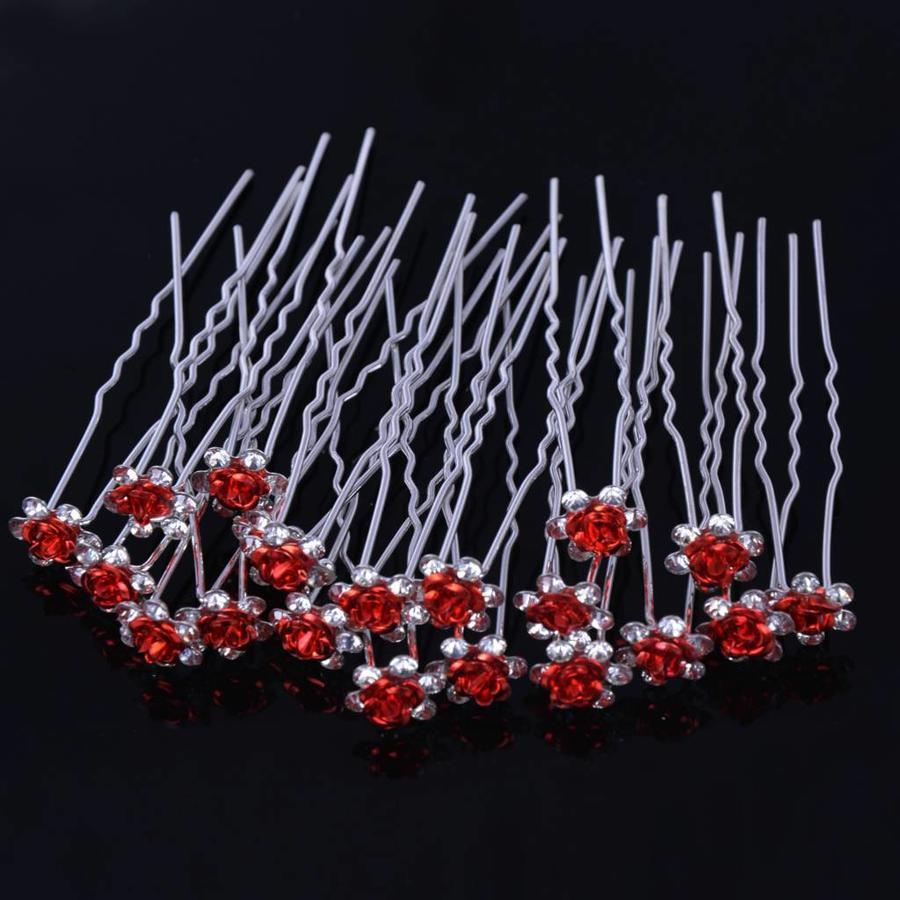 Hairpins – Rood Roosje - 5 stuks-5