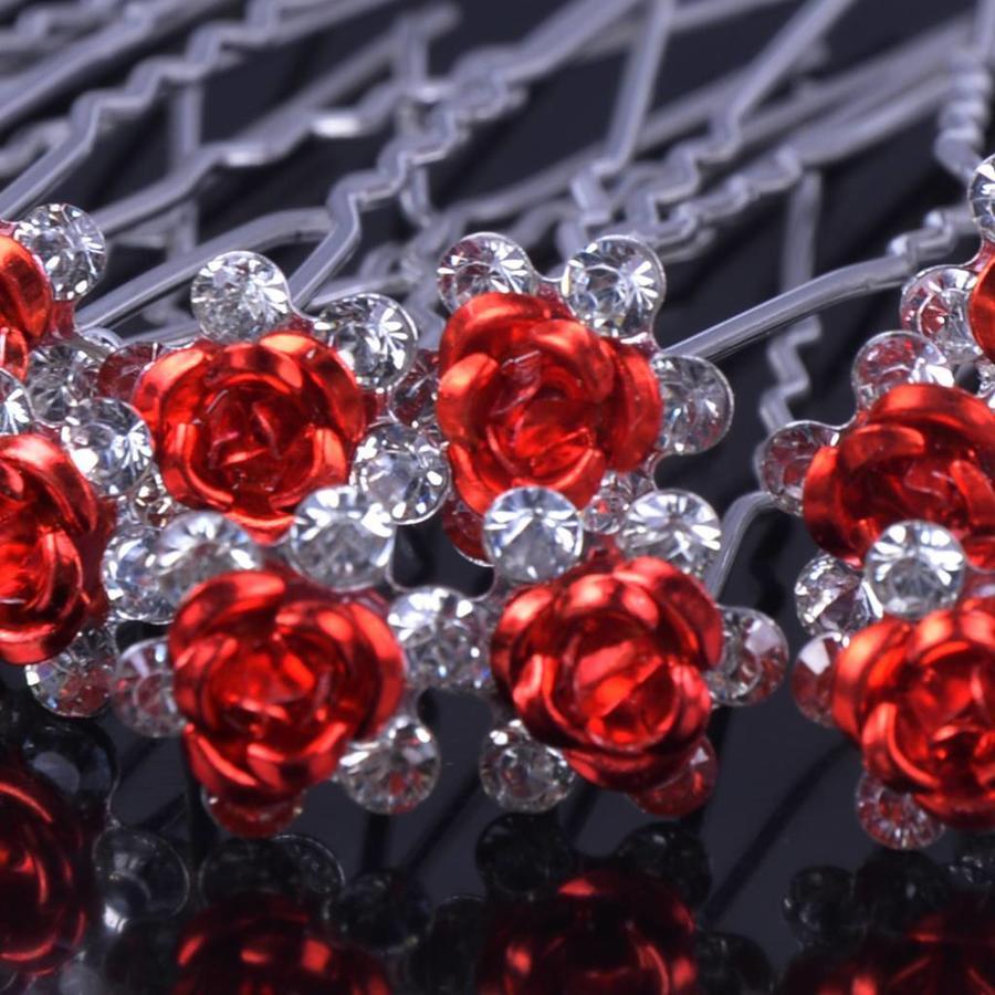 Hairpins – Rood Roosje - 5 stuks-6