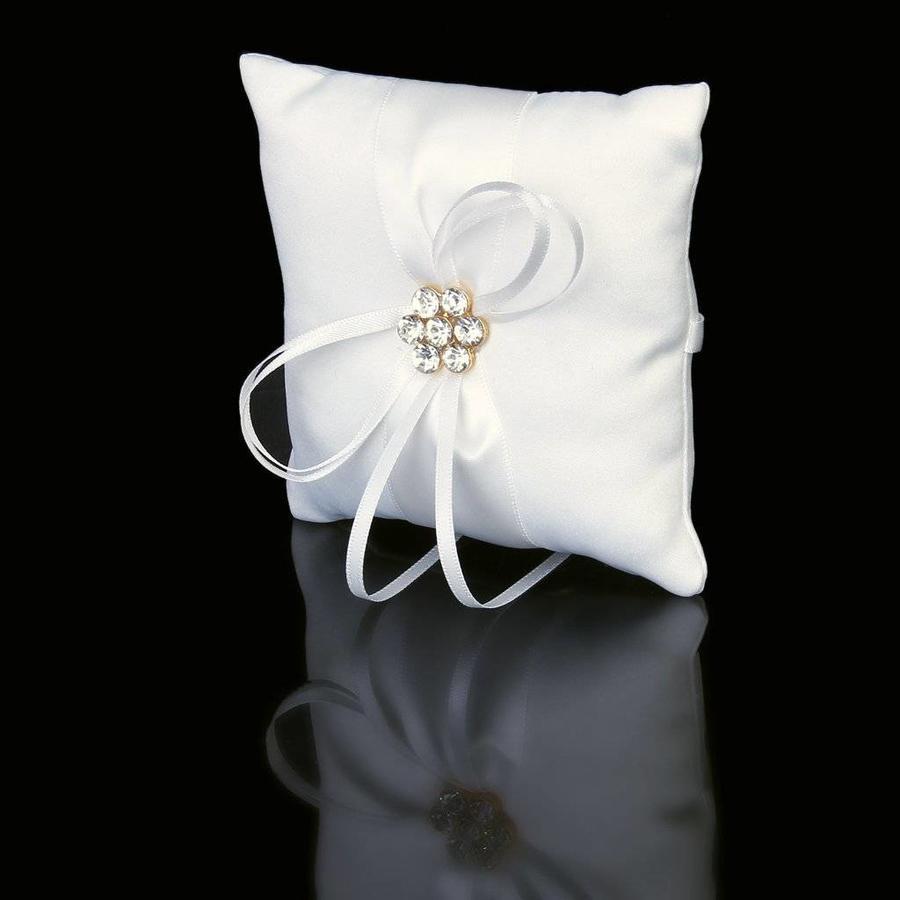 Ringkussen Wit met Fonkelende Diamanten-1