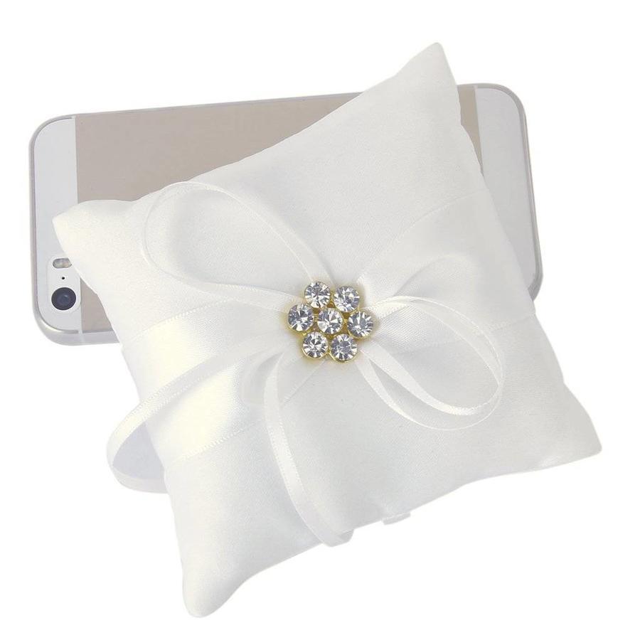 Ringkussen Wit met Fonkelende Diamanten-3