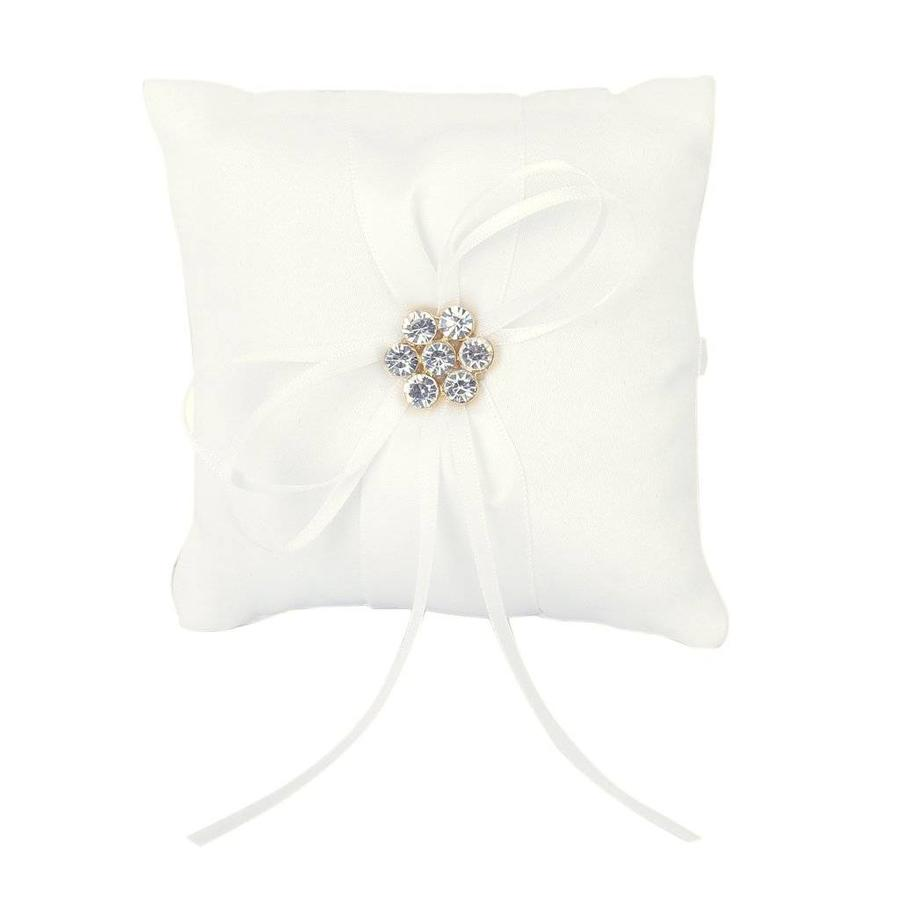 Ringkussen Wit met Fonkelende Diamanten-2
