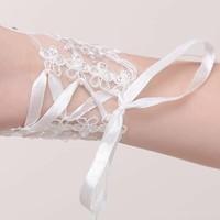 thumb-Elegante Witte Bruidshandschoenen-4