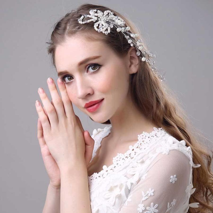 SALE - Prachtig Haar Sieraad met Parels en Kristallen-2