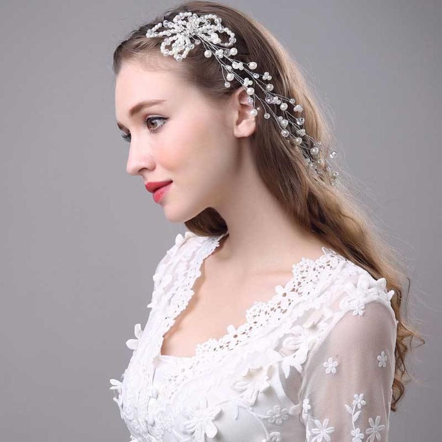 SALE - Prachtig Haar Sieraad met Parels en Kristallen-3