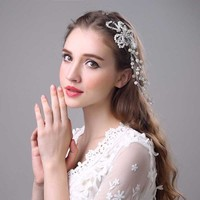 thumb-SALE - Prachtig Haar Sieraad met Parels en Kristallen-4