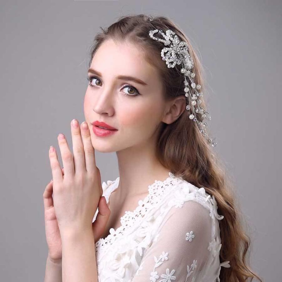 SALE - Prachtig Haar Sieraad met Parels en Kristallen-4