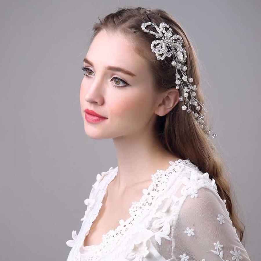 SALE - Prachtig Haar Sieraad met Parels en Kristallen-5