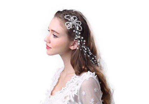 SALE - Prachtig Haar Sieraad met Parels en Kristallen