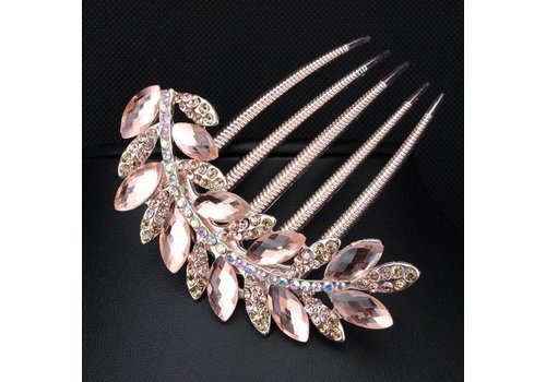 Sierlijke Rosé Kleurige Haarkam met Zalm Roze Kristallen