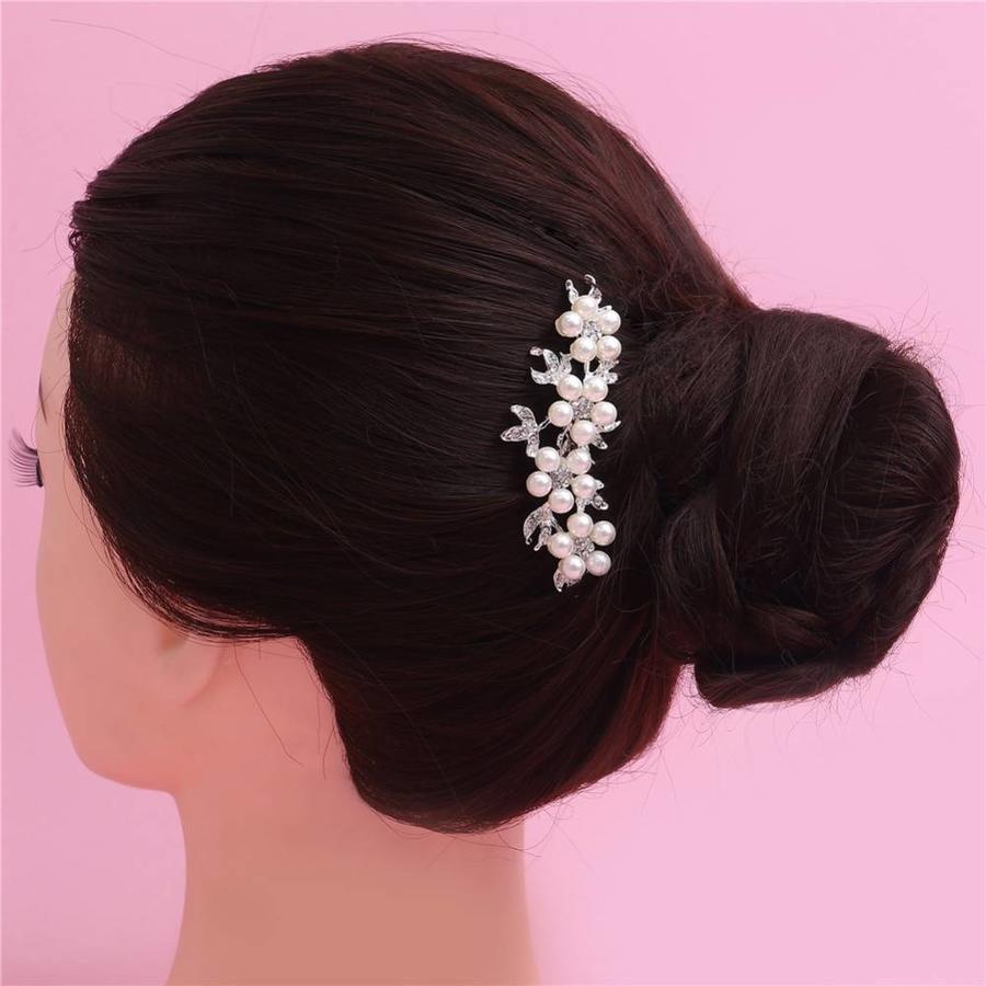 Hairpin - Bloemen met Ivoorkleurige Parels-6