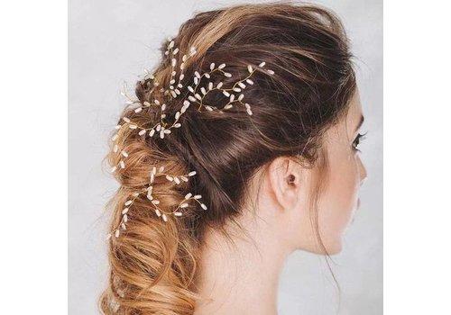 Hairpins Goud met Ivoorkleurige Parels - 2 Stuks
