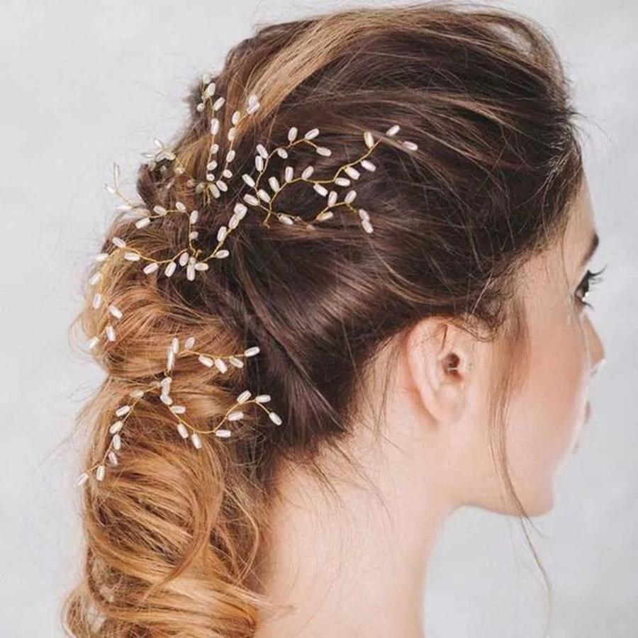 Hairpins Goud met Ivoorkleurige Parels - 2 Stuks-1