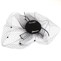 thumb-SALE - Elegante Zwarte Fascinator / Birdcage Veil-5