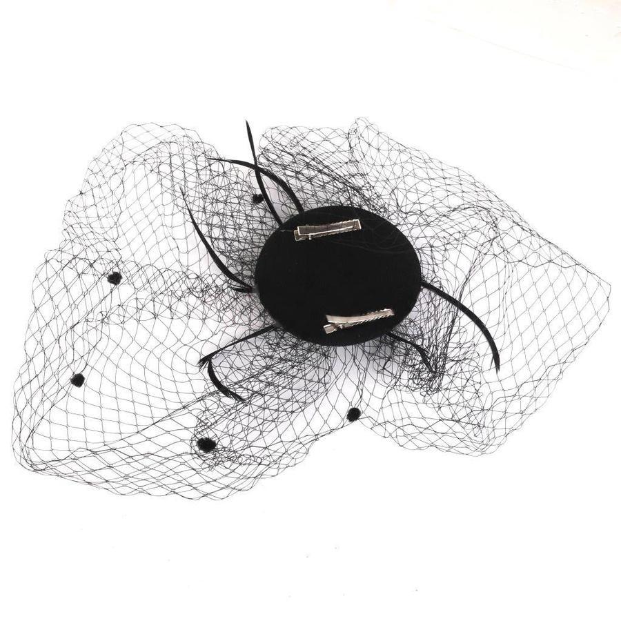 SALE - Elegante Zwarte Fascinator / Birdcage Veil-5