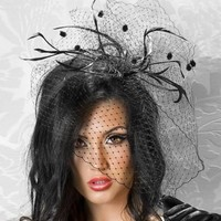 thumb-SALE - Elegante Zwarte Fascinator / Birdcage Veil-1