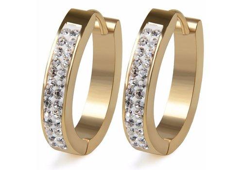 Goudkleurige Oorbellen met Diamanten