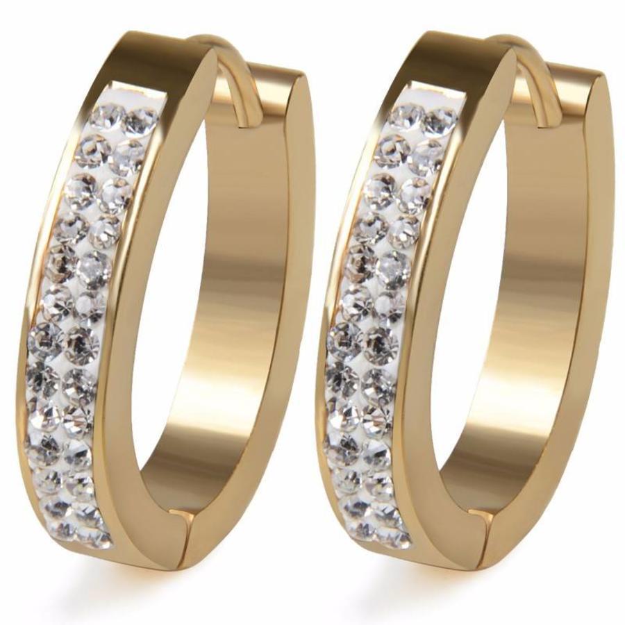 Goudkleurige Oorbellen met Diamanten-1