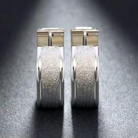 thumb-Zilverkleurige Grote Oorbellen met Glittertje-5