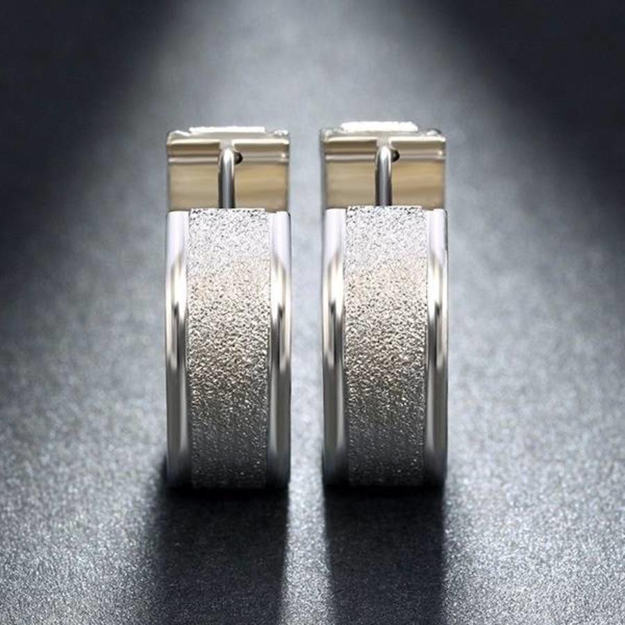 Zilverkleurige Grote Oorbellen met Glittertje-5