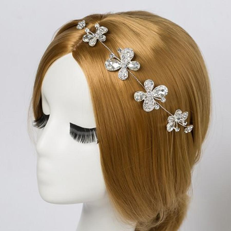 SALE - Elegant Haar Sieraad met Kristallen, Vlinders en Bloemen-1